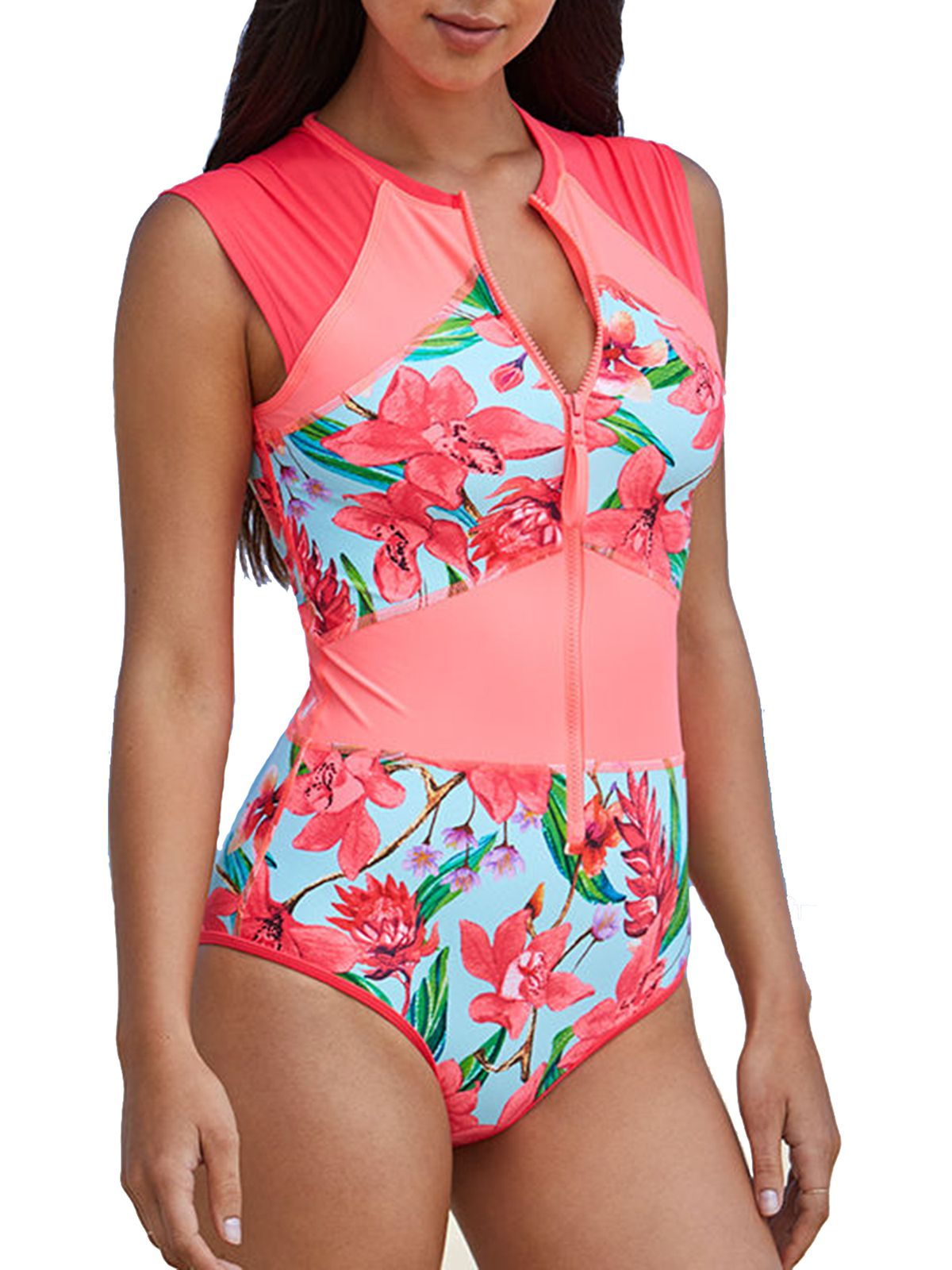 Body Glove Stand Up Zip Front One Piece Swimsuit, $132