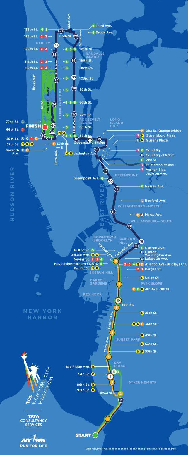 Nyc Marathon Route Map New York City Marathon 2014: Route information, course map and