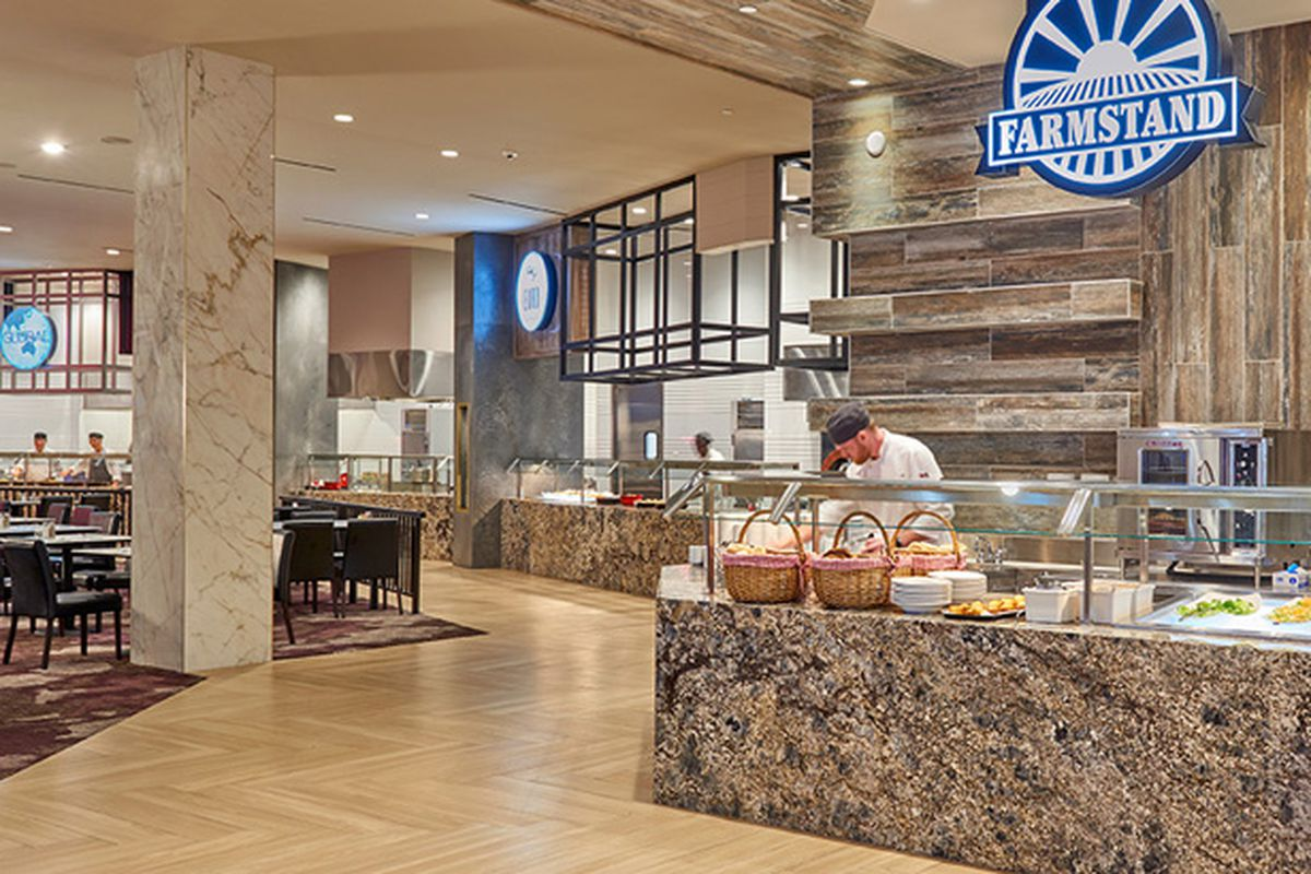 Serving stations at the Market Place Buffet, returning to the Rampart Casino this month.