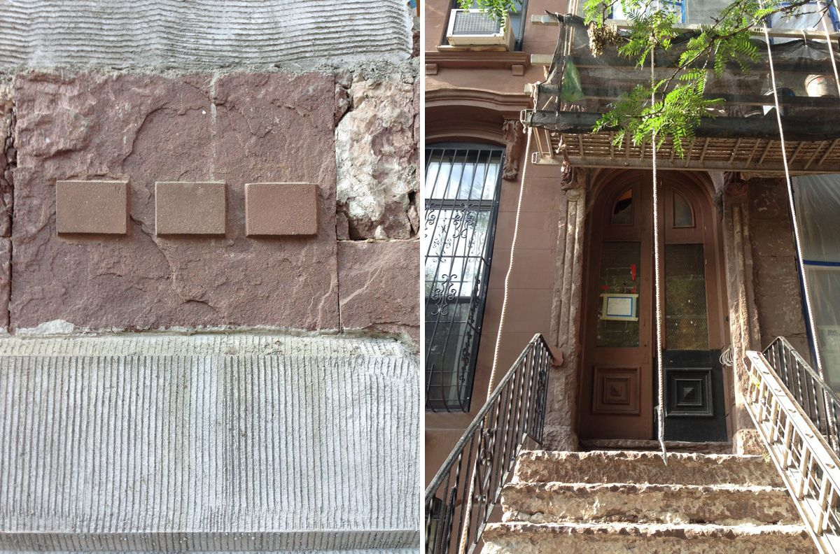 The team mixed three different colors of brownstone for review by a  Landmarks Preservation Commission staff person (left). The scratch coat on the facade while it was being refinished from the original, crumbling sandstone (right).