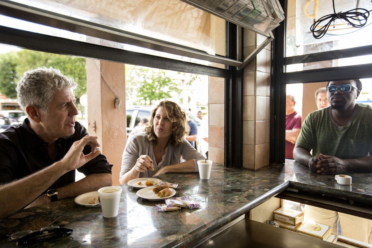 Anthony Bourdain and chef Michelle Bernstein [Photo courtesy Parts Unknown]