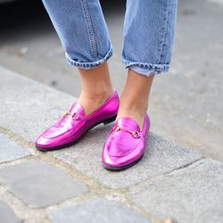 Michele updated Gucci's classic horse-bit loafers in fresh metallic shades.