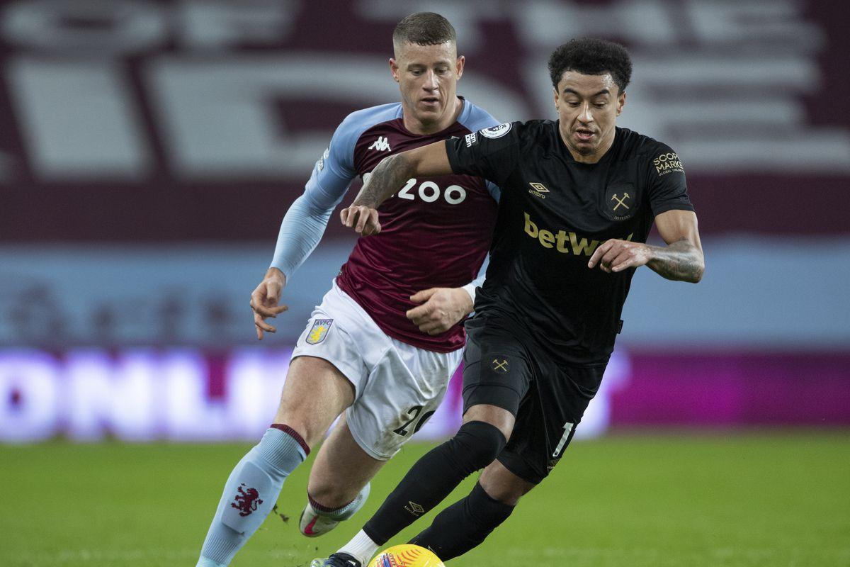 Jesse Lingard runs away from Ross Barkley - Aston Villa v West Ham United - Premier League