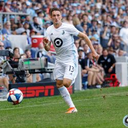 August 4, 2019 - Saint Paul, Minnesota, United States - Minnesota United midfielder Ethan Finlay (13) sprints down the sideline with the ball during the match against the Portland Timbers at Allianz Field.