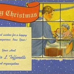 """Toffenetti Christmas Card via <a href=""""http://www.worthpoint.com/worthopedia/christmas-advertising-postcard-toffenetti-restaurant"""">Worth Point</a>."""