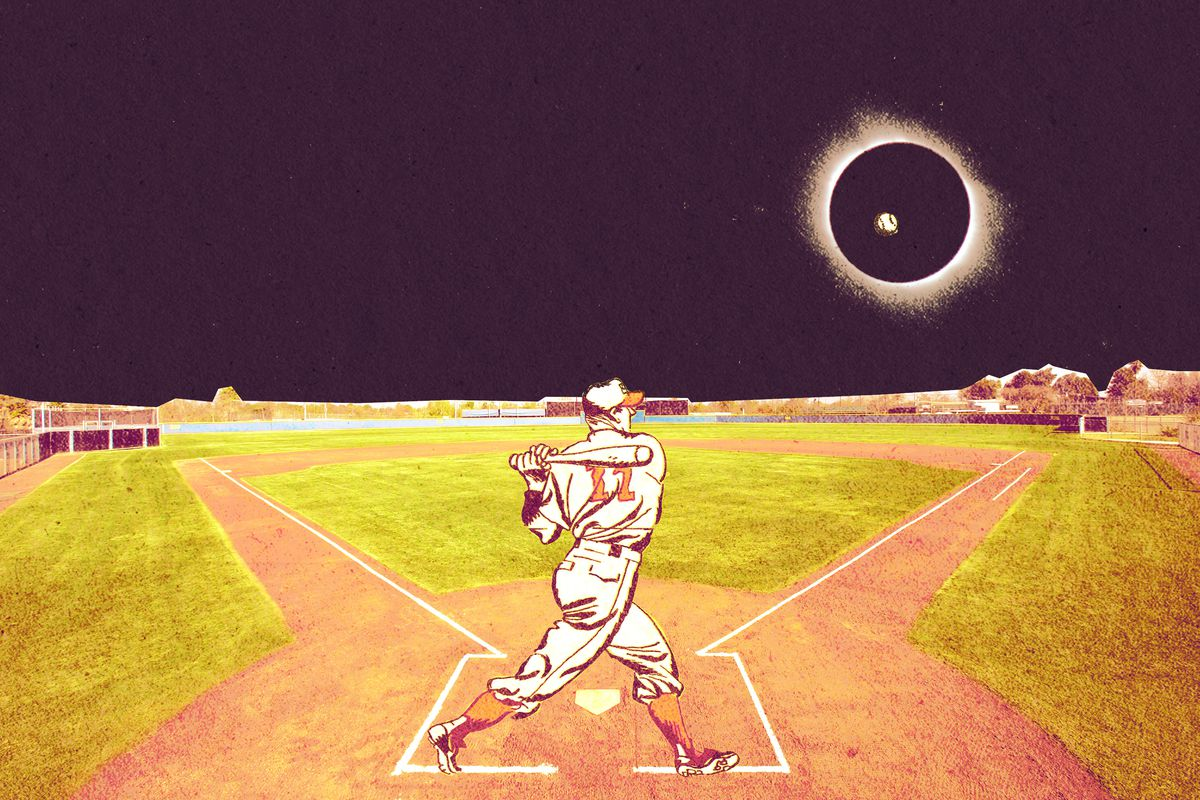 An illustration of a minor league player at bat in darkness during the total solar eclipse