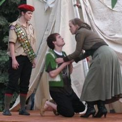 Rosalind (Heather Murdock), left, Silvius (Greg Larsen) and Phebe (Jessamyn Svensson) try to sort out their mixed-up love triangle.