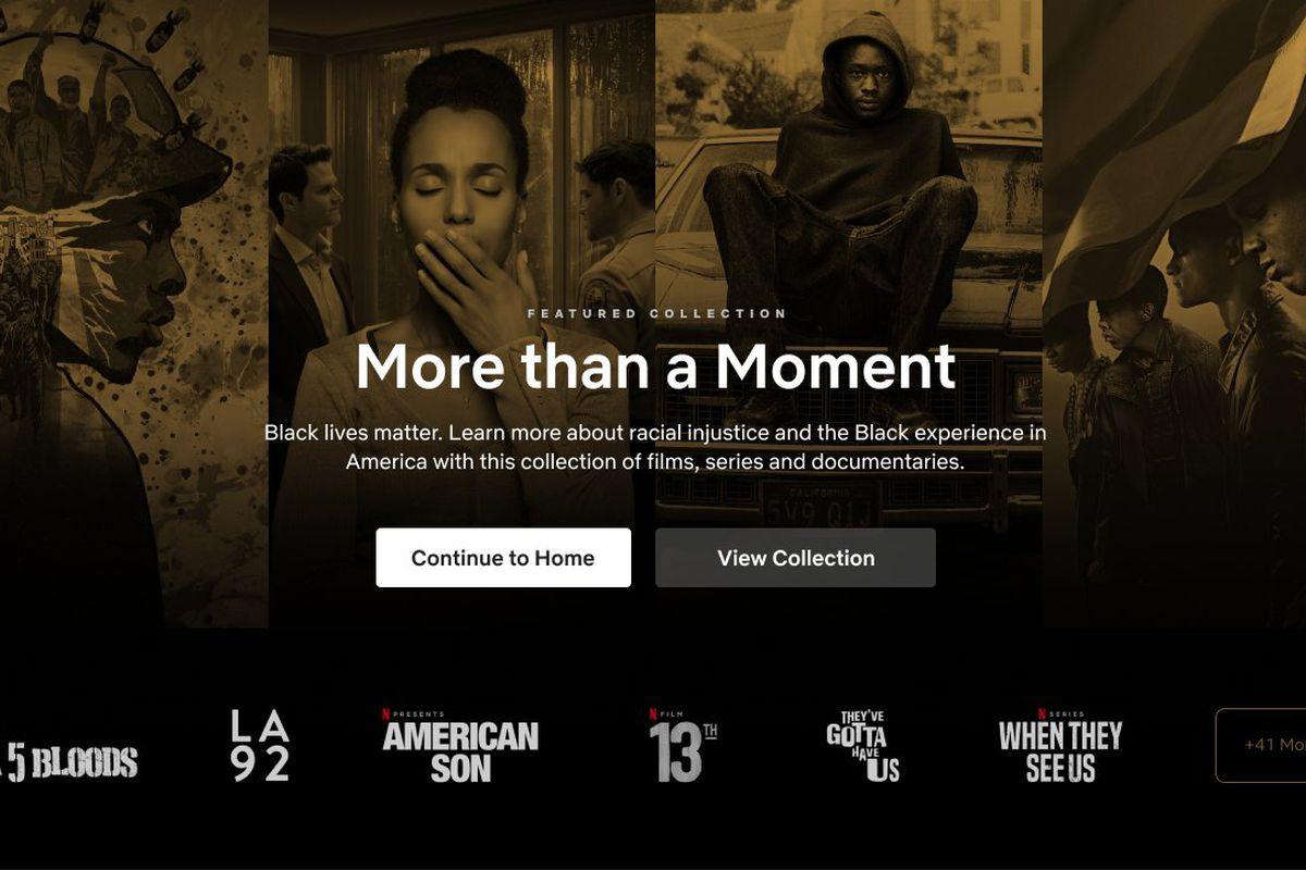 the netflix landing page for black lives matter