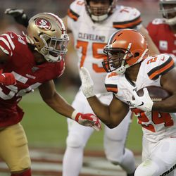 Cleveland Browns running back Nick Chubb (24) runs against San Francisco 49ers middle linebacker Fred Warner (54) during the first half of an NFL football game in Santa Clara, Calif., Monday, Oct. 7, 2019.