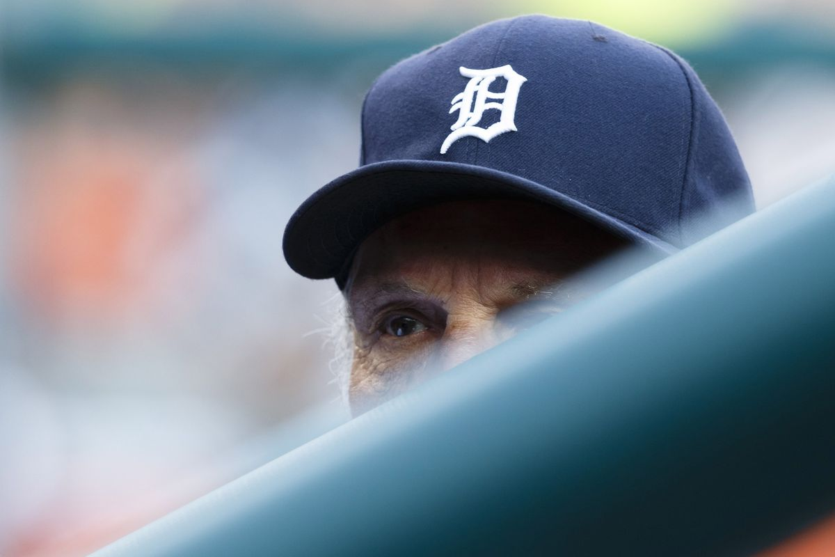 August 24, 2012; Detroit, MI, USA; Detroit Tigers manager Jim Leyland (10) in the dugout during the first inning against the Los Angeles Angels at Comerica Park. Mandatory Credit: Rick Osentoski-US PRESSWIRE