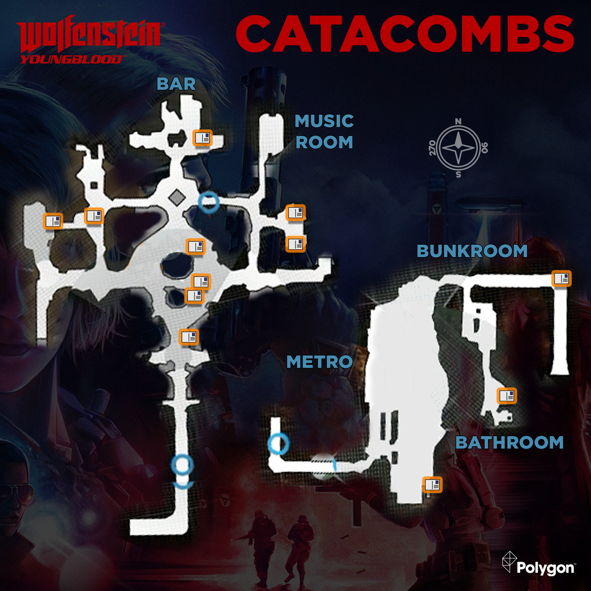 Wolfenstein: Youngblood Catacombs map with Readable collectible locations