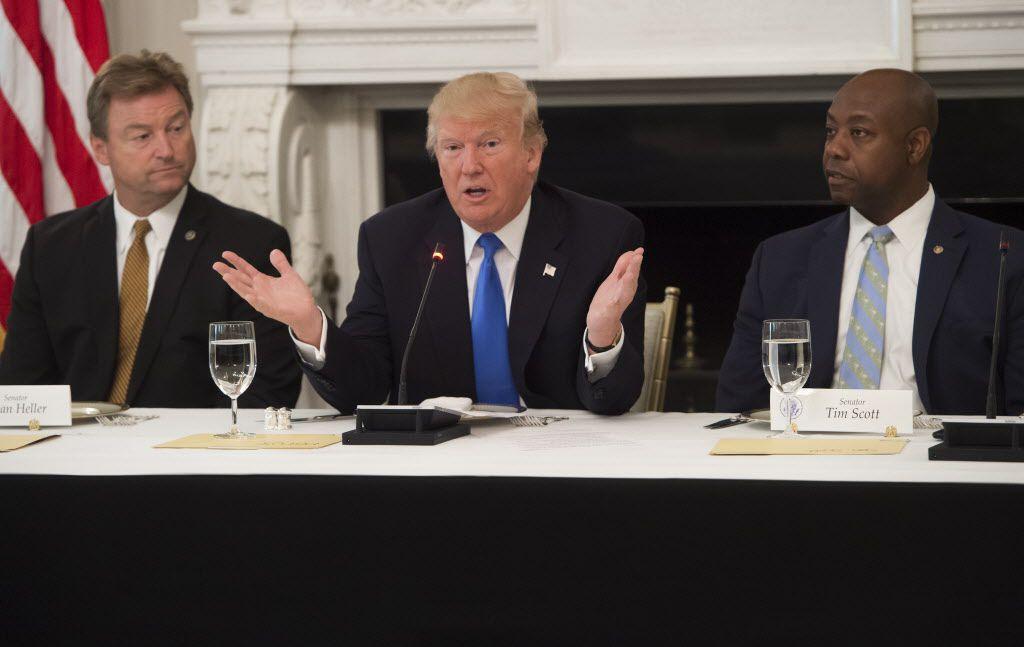 President Donald Trump speaks alongside Sen. Dean Heller (L), Republican of Nevada, and Sen. Tim Scott (R), Republican of South Carolina, during a meeting with Republican Senators in July. File Photo. / AFP PHOTO / SAUL LOEBSAUL LOEB/AFP/Getty Images
