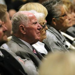Glen and Jo Tuckett listen during the memorial as family, friends and former team members gather to honor former BYU football coach LaVell Edwards at a memorial service at the Provo Convention Center on Friday, Jan. 6, 2017.