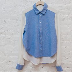 "<b>Vanessa Bruno Athé</b> Contrast Oxford shirt, <a href=""http://www.spiritualameri.ca/new-arrivals/contrast-oxford-shirt.html"">$298</a>"