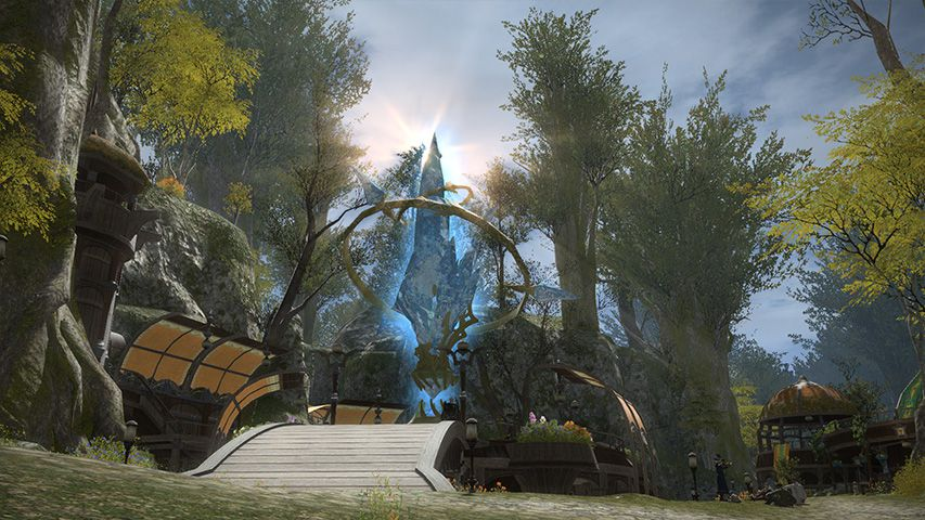 The large aetheryte in the middle of Gridania from Final Fantasy 14
