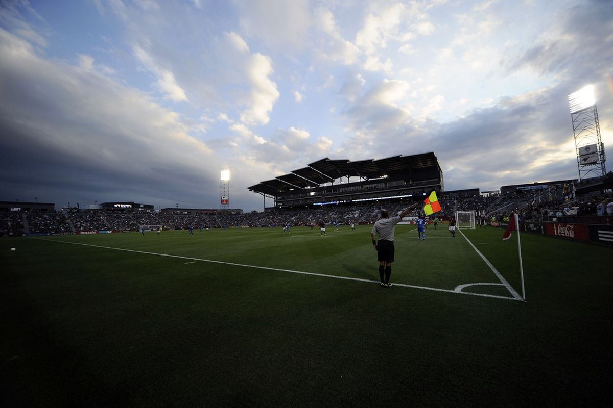 June 20, 2012; Commerce City, CO, USA; General view of Dick's Sporting Goods Park during the game between the San Jose Earthquakes and the Colorado Rapids. Mandatory Credit: Ron Chenoy-US PRESSWIRE