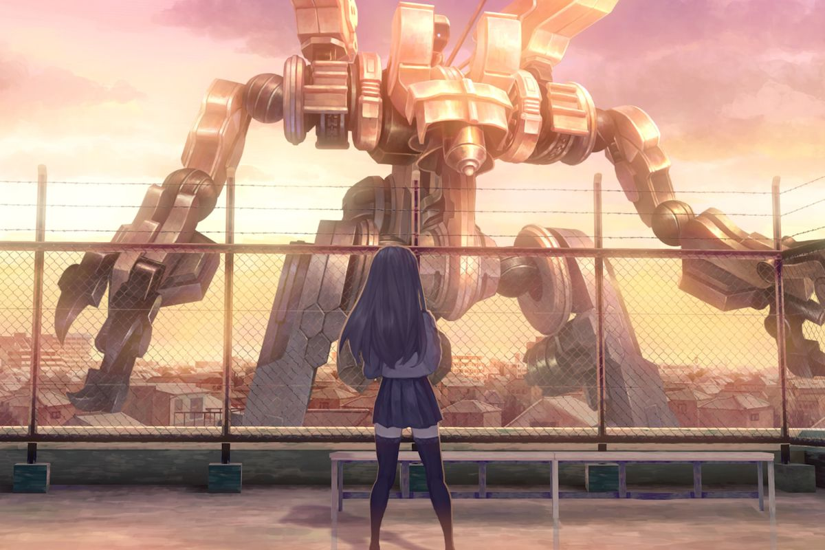Screenshot from 13 Sentinels: Aegis Rim. Megumi looks at a sentinel robot on the horizon from the school roof.