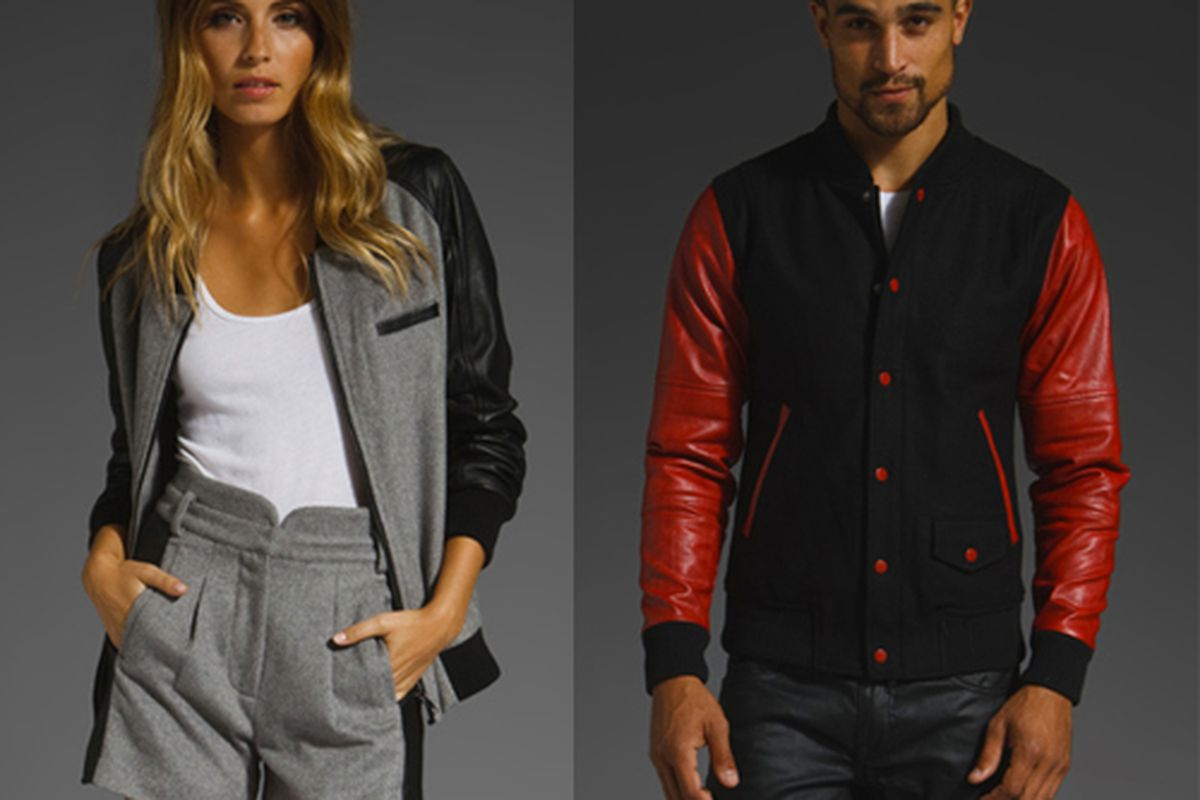 """Funktional and Joyrich varsity jackets for sale on <a href=""""http://www.revolveclothing.com/"""">Revolve Clothing</a>."""