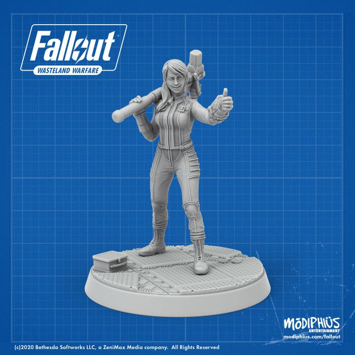 A render of a Vault Girl model, wearing the iconic vault jumpsuit and giving the thumbs-up sign.