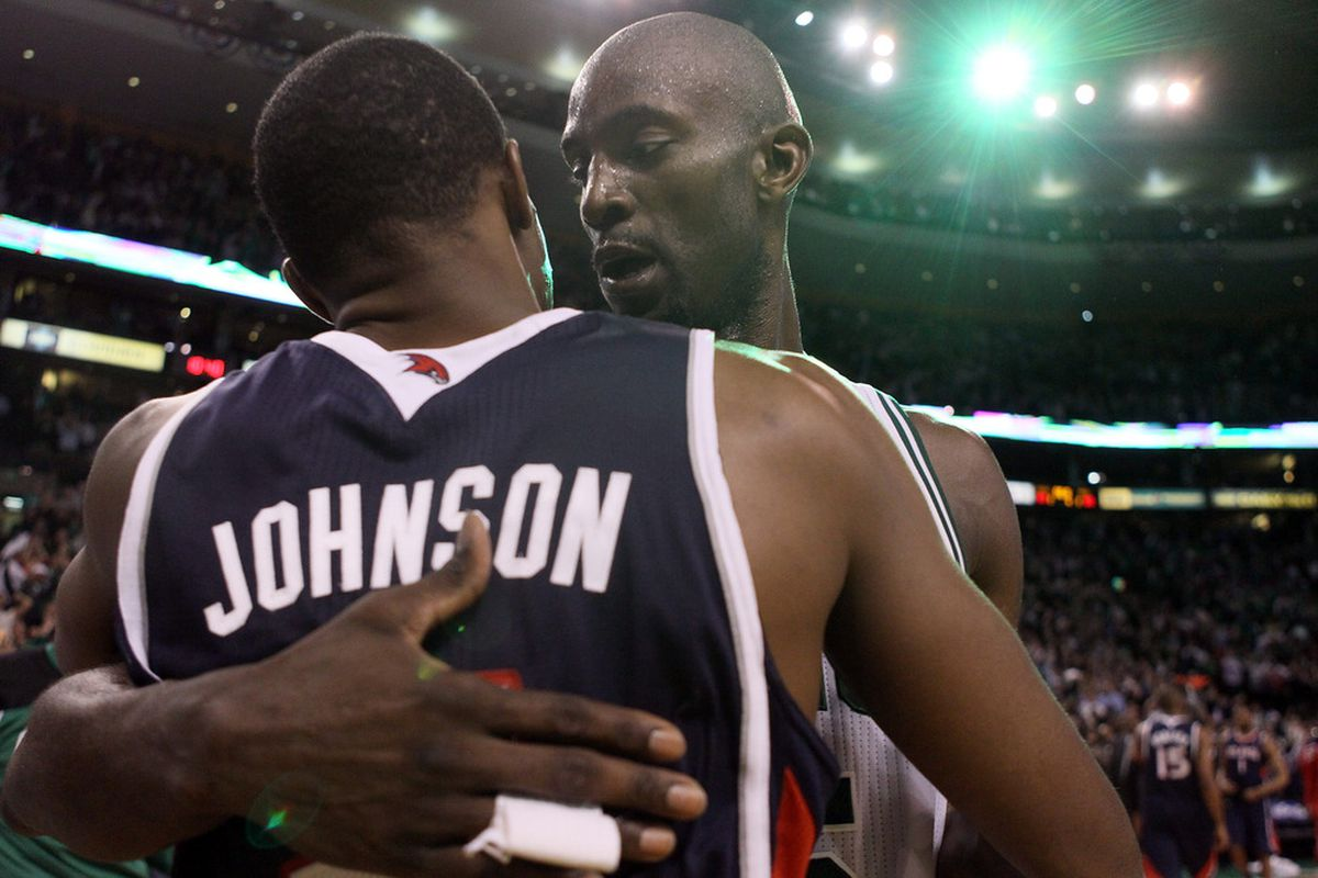 Shockingly and worth noting, KG does not look mad here.