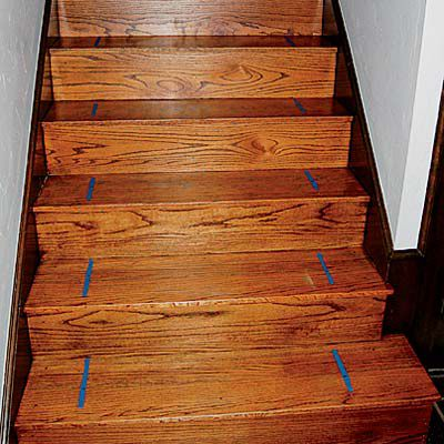 Painter's Tape Marks Area For DIY Stair Runner