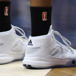 Connecticut Sun's Morgan Tuck (33) will be wearing Adidas this season along with her former UConn teammate Moriah Jefferson.