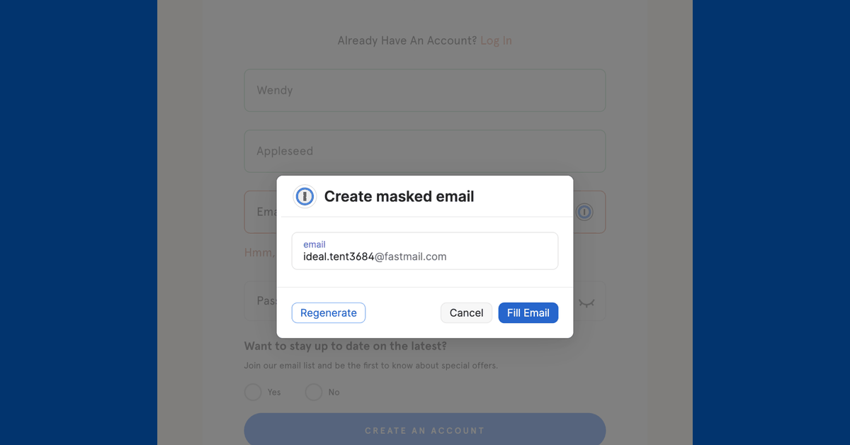 1Password lets you hide your email