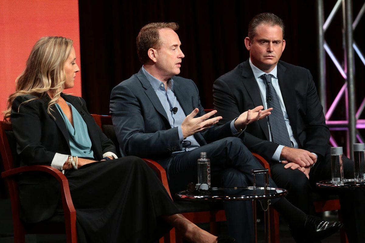 Jennifer Salke, president of NBC Entertainment; Robert Greenblatt, chairman of NBC Entertainment; and Paul Telegdy, president of alternative and late-night programming for NBC Entertainment, at this year's summer press tour.