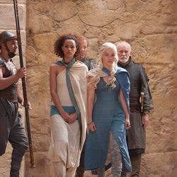 Season 3: This look becomes Daenerys's conquering warrior look. We also meet Missandei, she of the fierce curls and loyalty, who becomes D's right hand woman.