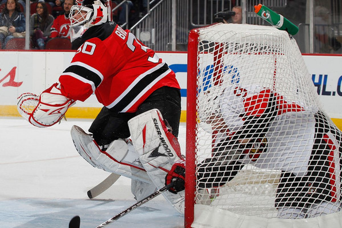 This was one opposition attack that Brodeur was more than happy to let go into the net. (P.S. Michalek, you're doing it wrong.)  (Photo by Paul Bereswill/Getty Images)