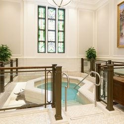 The baptistry of the Winnipeg Manitoba Temple.