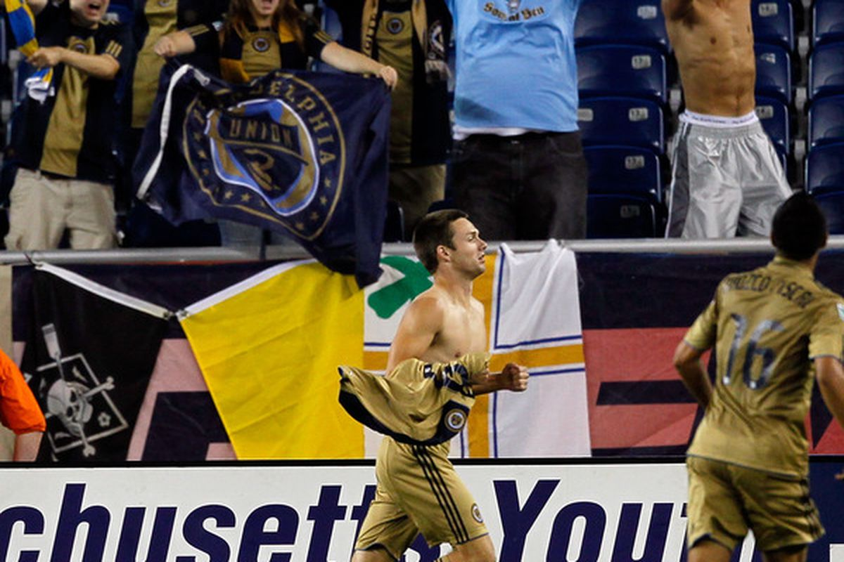 FOXBORO MA - AUGUST 28:  Jack McInerny of the Philadelphia Union reacts after he scored the tying goal against the New England Revolution at Gillette Stadium on August 28 2010 in Foxboro Massachusetts. (Photo by Jim Rogash/Getty Images)