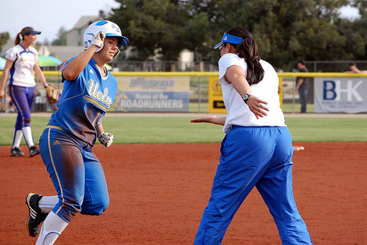"""<em>Coach Kelly Inouye-Perez will be firing up Julie Burney and rest of her crew today against Georgia. Photo Credit: <a href=""""http://www.flickr.com/photos/uclasoftball/4453668234/"""" target=""""new"""">UCLA Softball (flickr)</a></em>"""