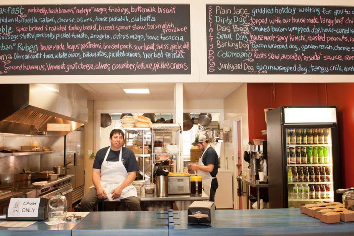 Chef owner Damian Sansonetti, left