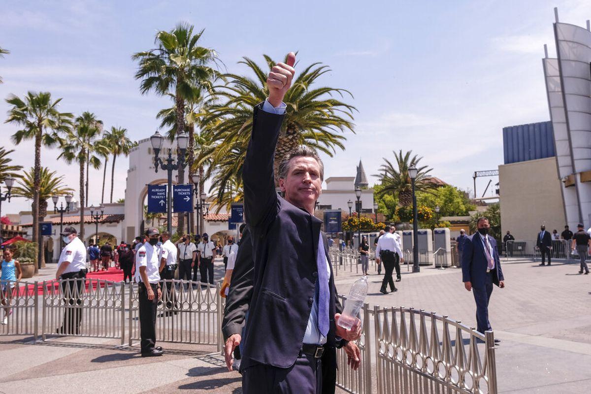 California Governor Gavin Newsom at Universal Studios in Universal City, California.