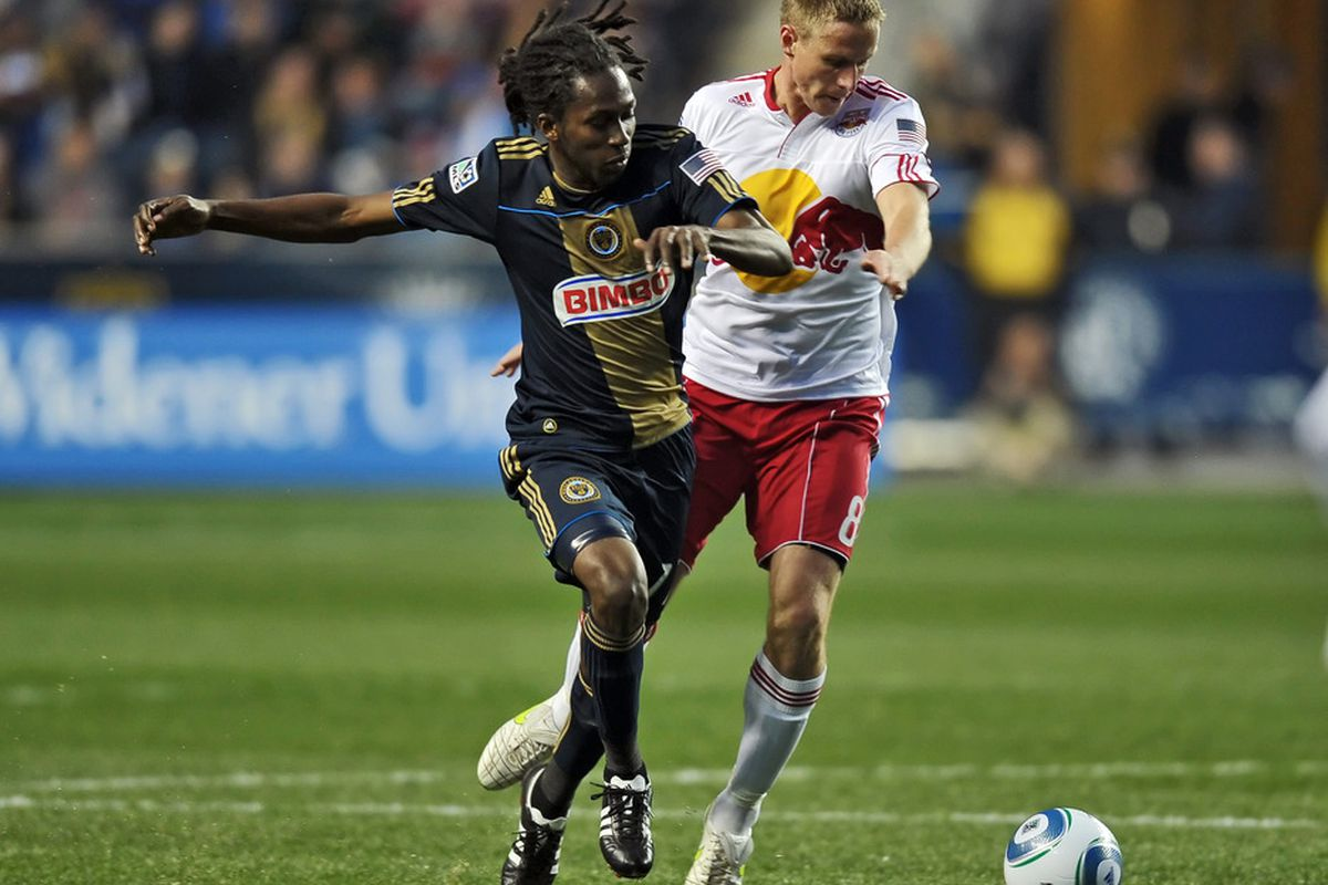 CHESTER, PA- APRIL 09: Keon Daniel #17 of the Philadelphia Union and Jan Gunnar Solli #8 of the New York Red Bulls battle for the ball at PPL Park on April 9, 2011 in Chester, Pennsylvania. The Union won 1-0. (Photo by Drew Hallowell/Getty Images)