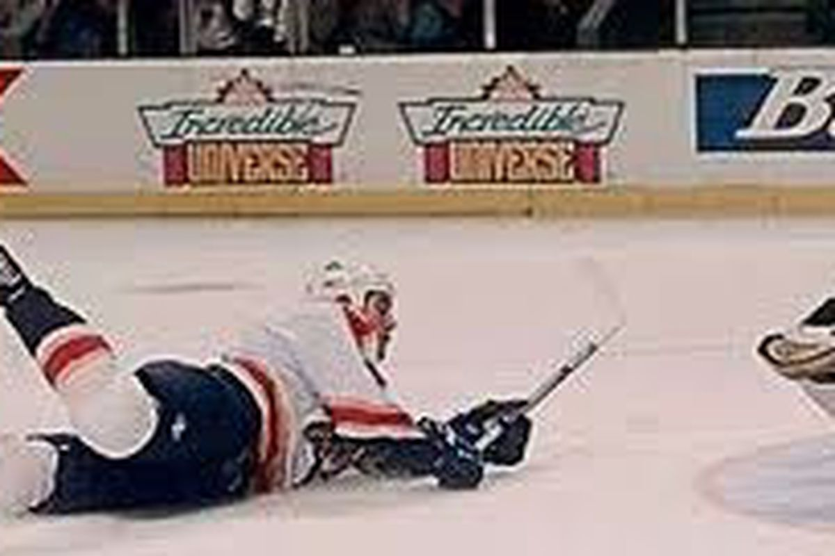"""Billy scoring """"the goal"""" (puck not visible due)"""