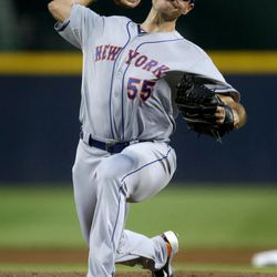 New York Mets starting pitcher Chris Young throws a pitch in the first inning of a baseball game against the Atlanta Braves Saturday, Sept. 29, 2012, in Atlanta.