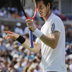 Britain's Andy Murray reacts while playing against Czech Republic's Tomas Berdych during a semifinal match at the 2012 US Open tennis tournament,  Saturday, Sept. 8, 2012, in New York.