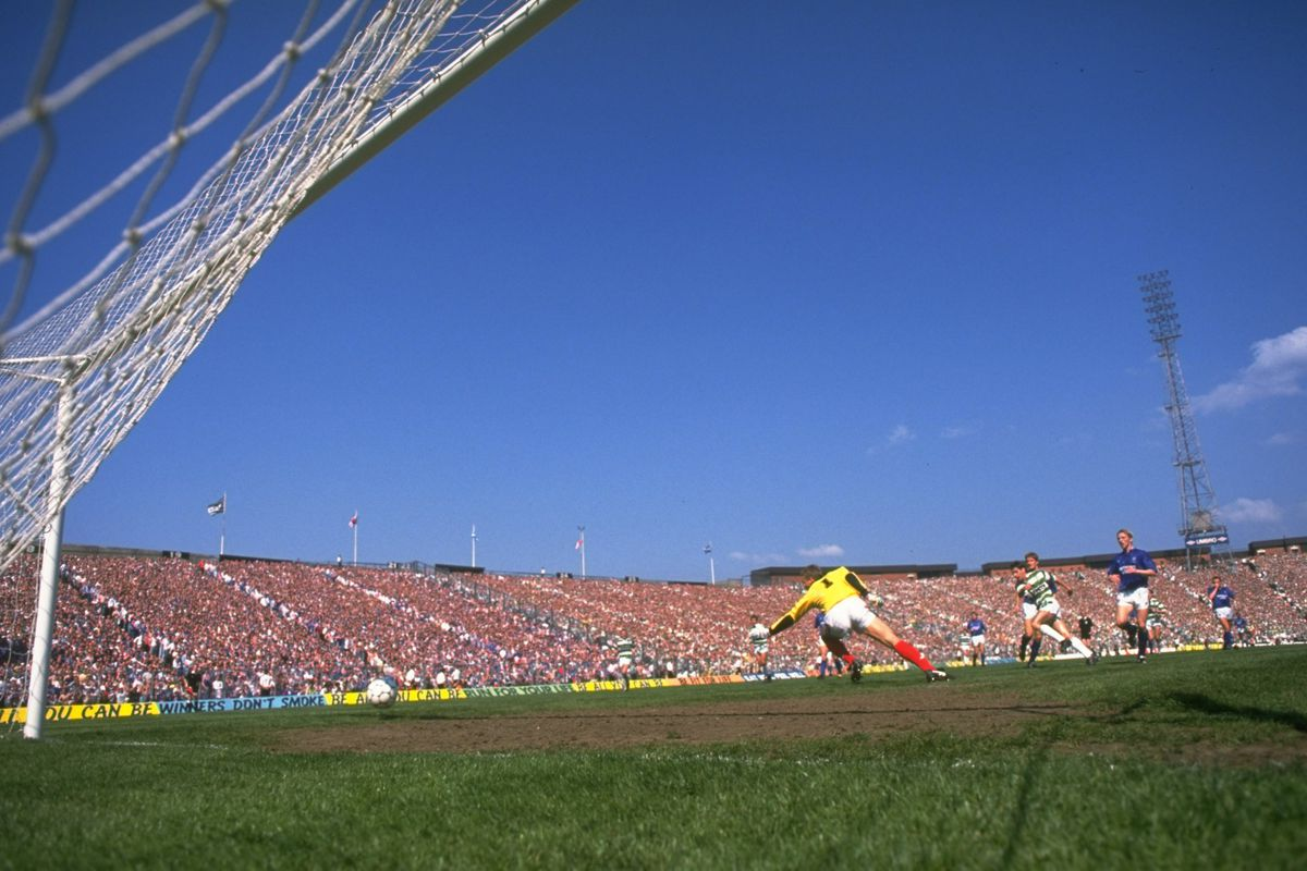 General view of the players in action in the goal area during the Scottish Cup Final match