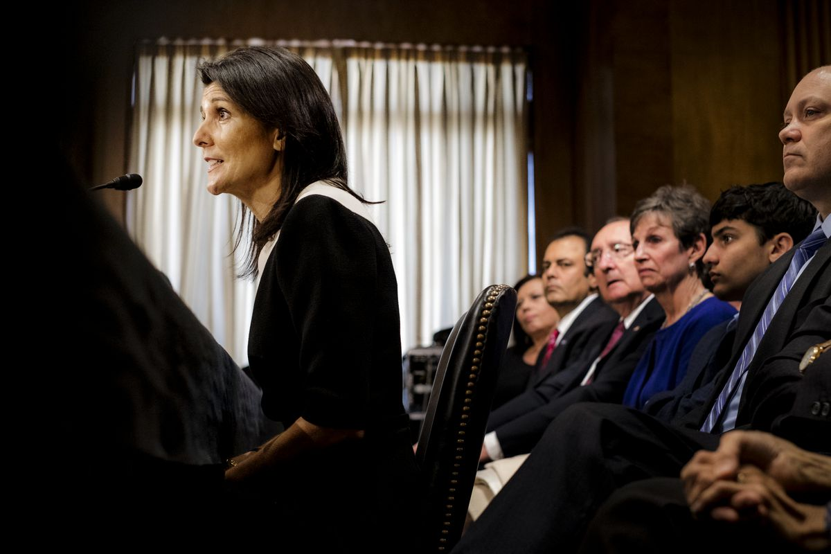 South Carolina Governor Nikki Haley speaking before the Senate Foreign Relations Committee.