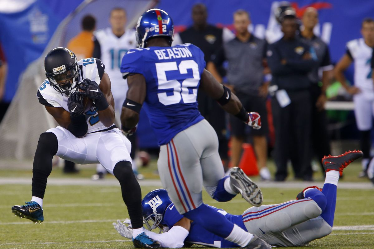 Jon Beason moves in to try and make a tackle Saturday night.