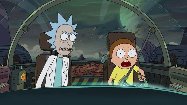 rick and morty fly a spaceship across a grey planet and morty is screaming