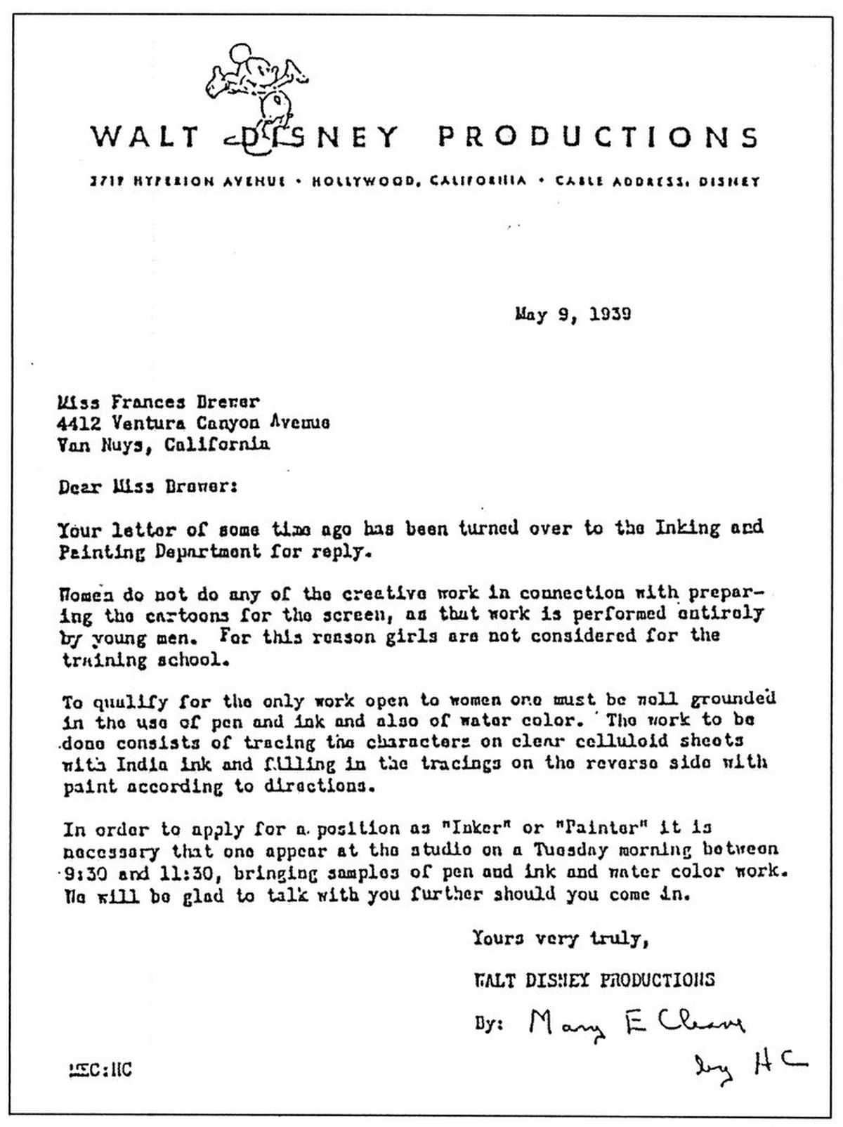 Read the rejection letters Disney used to send any woman who wanted ...