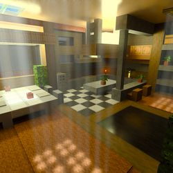 """The """"Color, Light & Shadow"""" world in the <em>Minecraft</em> with RTX beta — ray tracing enabled"""