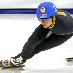 Jessica Kooreman (3) competes in the women's 1000-meter during the U.S.Olympic short track speedskating trials Sunday, Dec. 17, 2017, in Kearns, Utah. (AP Photo/Rick Bowmer)