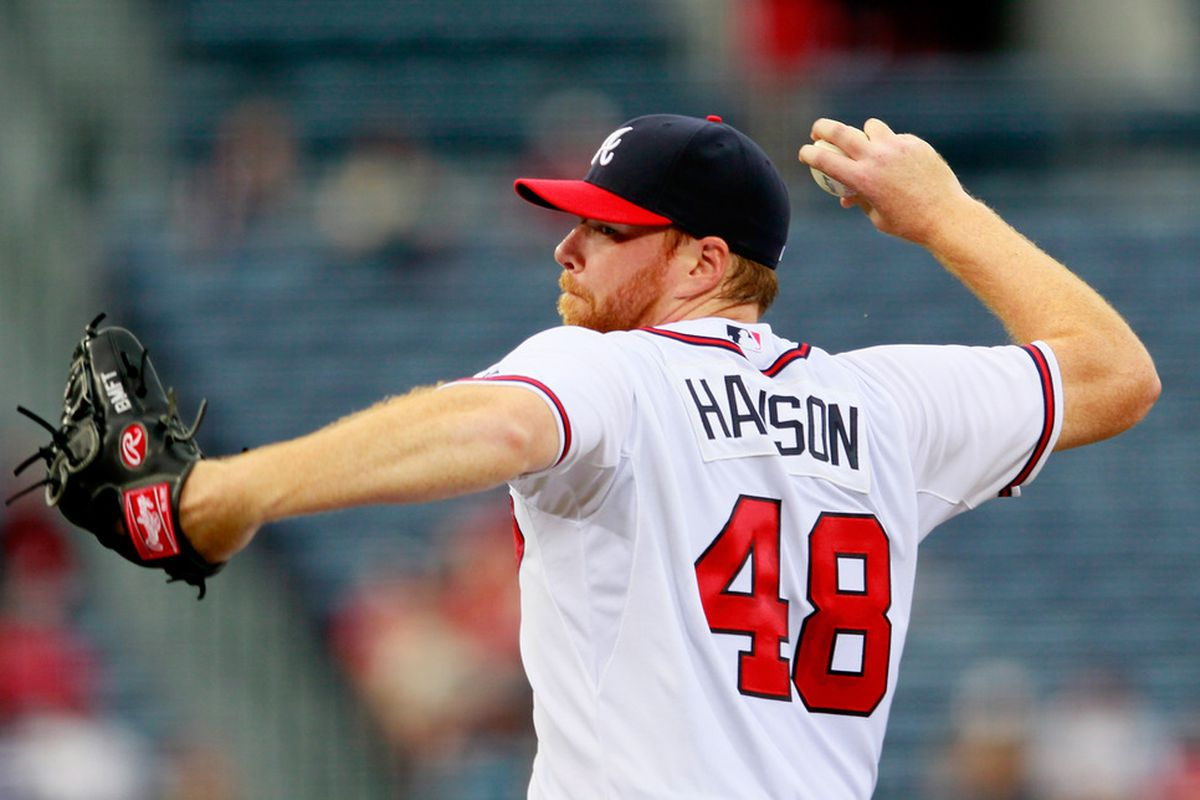 ATLANTA, GA - APRIL 16:  Tommy Hanson #48 of the Atlanta Braves pitches to the New York Mets at Turner Field on April 16, 2012 in Atlanta, Georgia.  (Photo by Kevin C. Cox/Getty Images)