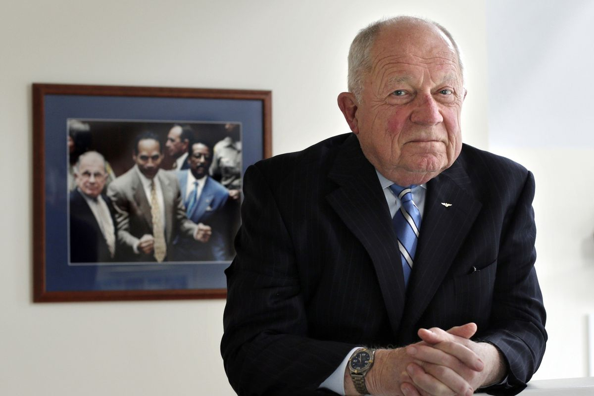 In this May 22, 2014, file photo, famed defense attorney F. Lee Bailey is in his office in Yarmouth, Maine. Bailey, the celebrity attorney who defended O.J. Simpson, Patricia Hearst and the alleged Boston Strangler, but whose legal career halted when he was disbarred in two states, has died, a former colleague confirmed Thursday, June 3, 2021. He was 87.