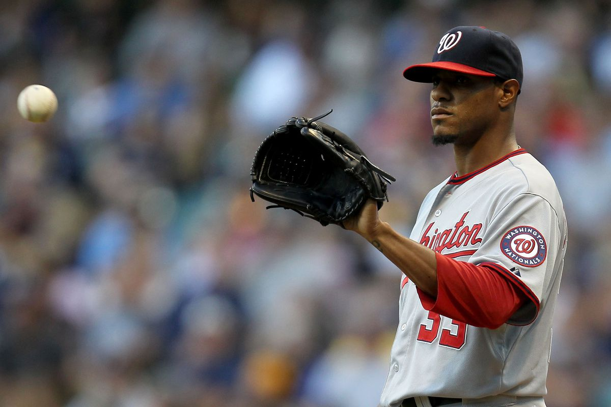 MILWAUKEE, WI - JULY 26: Edwin Jackson #33 of the Washington Nationals pitches against the Milwaukee Brewers during the game at Miller Park on July 26, 2012 in Milwaukee, Wisconsin. (Photo by Mike McGinnis/Getty Images)