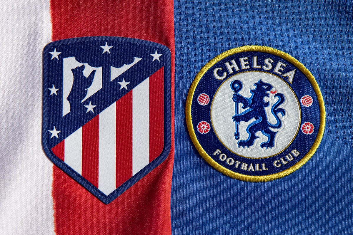 The Atlético Madrid and Chelsea Club Badges